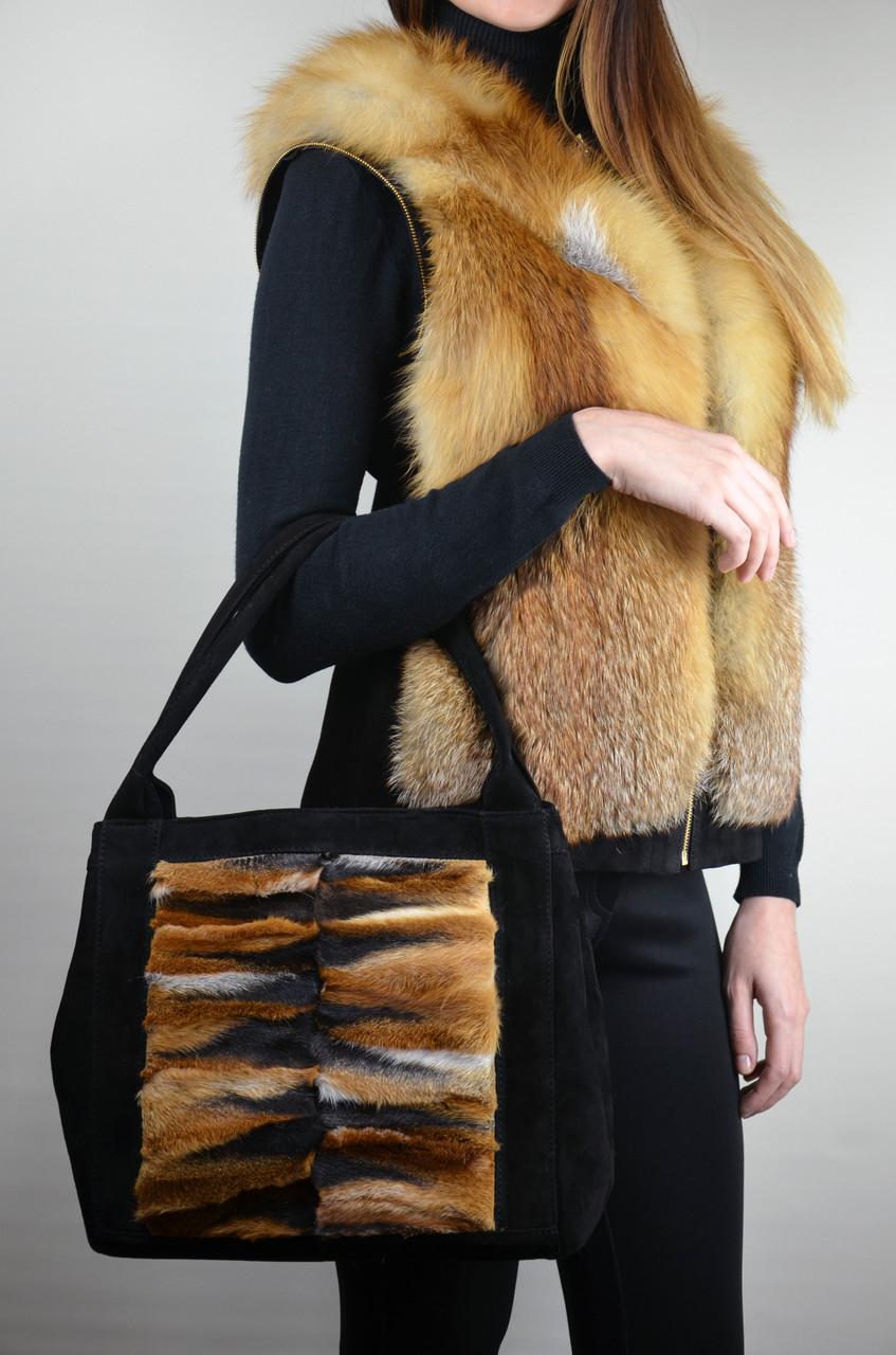 Замшевая сумка с мехом лисы