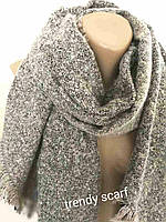 Женский шарф Букле. Черный розовый белый. Ассиметричный крайвискоза