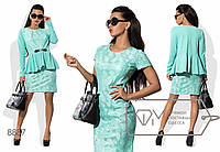 Комплект - платье мини приталенное из гипюра с коротким рукавом и кофточка с баской из микродайвинга на одинарной застёжке 8887