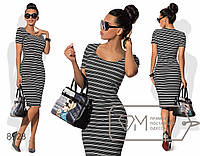 Платье-футляр миди из летнего структурного трикотажа с короткими рукавами и круглым вырезом 8928
