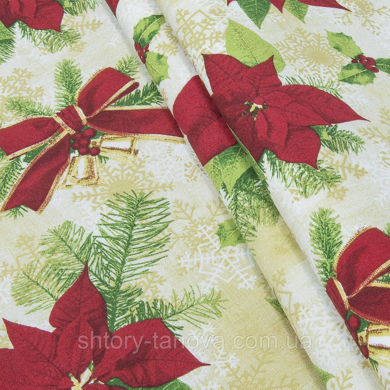Декоративна тканина, бавовна 70%, бавовна 30%, з новорічним принтом