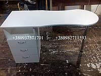 Маникюрный стол складной с хромированной опорой. Модель А54 белый