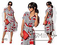 Платье миди А-покроя из поливискозы на запахе под пояс с коротким рукавом, V-вырезом и воротником-стойкой 8995