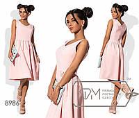 Платье миди А-покроя из крепа без рукавов с треугольным вырезом, приталенным лифом и расклешённой юбкой 8986