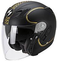 Открытый шлем Scorpion EXO-220 Bixby матовый черный/золотой, M, фото 1