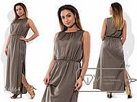 Платье-хитон макси прямое из поливискозы без рукавов с резинкой на поясе, круглым вырезом и боковыми разрезами на подоле X6464