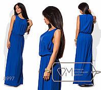Платье-хитон макси прямое из штапеля без рукавов с резинкой на поясе, круглым вырезом и боковыми разрезами на подоле 8997