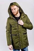 Теплая удлиненная мужская куртка с капюшоном. (Хаки). Арт-743K001.5