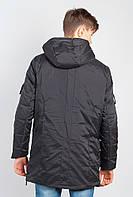 Стильная удлиненная мужская куртка с капюшоном  (Черный) АРТ-743K001.5