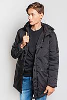 Теплая удлиненная мужская куртка с капюшоном. (Черный) АРТ-743K001.5