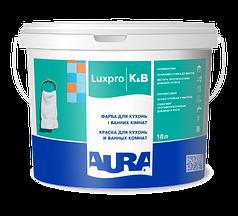 Акрилатная моющаяся влагостойкая краска для кухонь и ванных комнат AURA K&B, А (белая), 10л