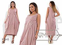 Платье-баллон миди из коттона фигурной выкройки без рукавов с объёмными карманами на лифе X6543