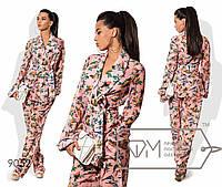 Костюм из мульти-шифона с подкладом-шортами из микромасла - удлинённый пиджак на запах под пояс и прямые брюки 9052