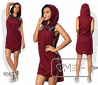 Платье-толстовка мини прямое из стрейч-льна без рукавов с воротом-поло на шнуровке, капюшоном и отделкой пайеткой 9083