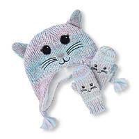 Детская зимняя флисовая шапка-ушанка и варежки для девочки The Childrens Place (США)