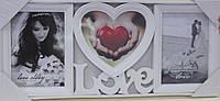 Рамка для фотографий - фото-коллаж Любовь, белый, размер 49смХ22см