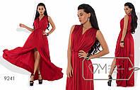 Платье-хитон макси из шёлка Армани без рукавов, с резинкой на талии, мягким V-вырезом и высоким передним разрезом 9241