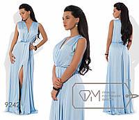 Платье-хитон макси из шёлка Армани без рукавов, с резинкой на талии, мягким V-вырезом и высоким передним разрезом 9242