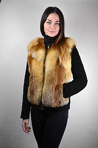 Копия Приталенная куртка-трансформер из лисы и замши