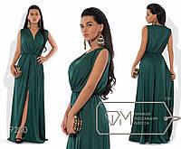 Платье-хитон макси из шёлка Армани без рукавов, с резинкой на талии, мягким V-вырезом и высоким передним разрезом 9240