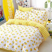 Постельное белье Лимоны саржа 100% хлопок комплект полуторный кровать 1.5м
