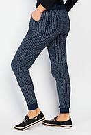 Модные полосатые спортивные брюки теплые. (Синий меланж).  АРТ-372F001.5