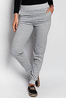 Модные полосатые спортивные брюки теплые. (Светло-серый меланж)  АРТ-372F001.5