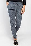 Модные полосатые спортивные брюки теплые. (Серый меланж).  АРТ-372F001.5