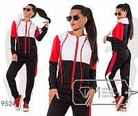 Спорткостюм из двунитки с контрастной отделкой верха и лампасов - олимпийка с капюшоном на длинных шнурках и джоггеры 9524