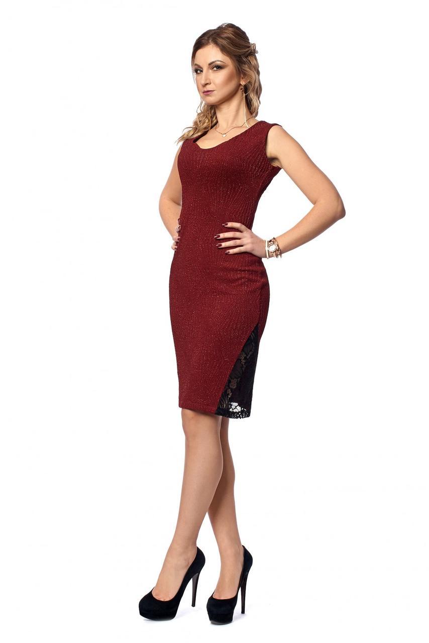 1d27eb300f6 Бордовое платье облегающее по фигуре с гипюровой вставкой -  Оптово-розничный магазин одежды