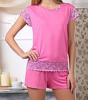 Вискозная пижама женская комплект домашний футболка и шорты трикотажные