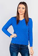 Модный женский свитер однотонный (Синий). АРТ-46F091.5