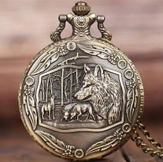 Карманные мужские часы на цепочке волк