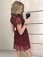 Женское гипюровое платье цвета бордо