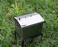 """Коптильня для гарячого копчення кришка """"Будиночком"""" з термометром (400х300х310)"""