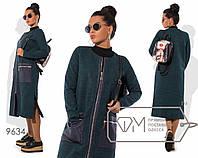 Пальто миди прямое из ткани букле без воротника с разрезами, отделкой экокожей планки молнии по всей длине и карманов 9634