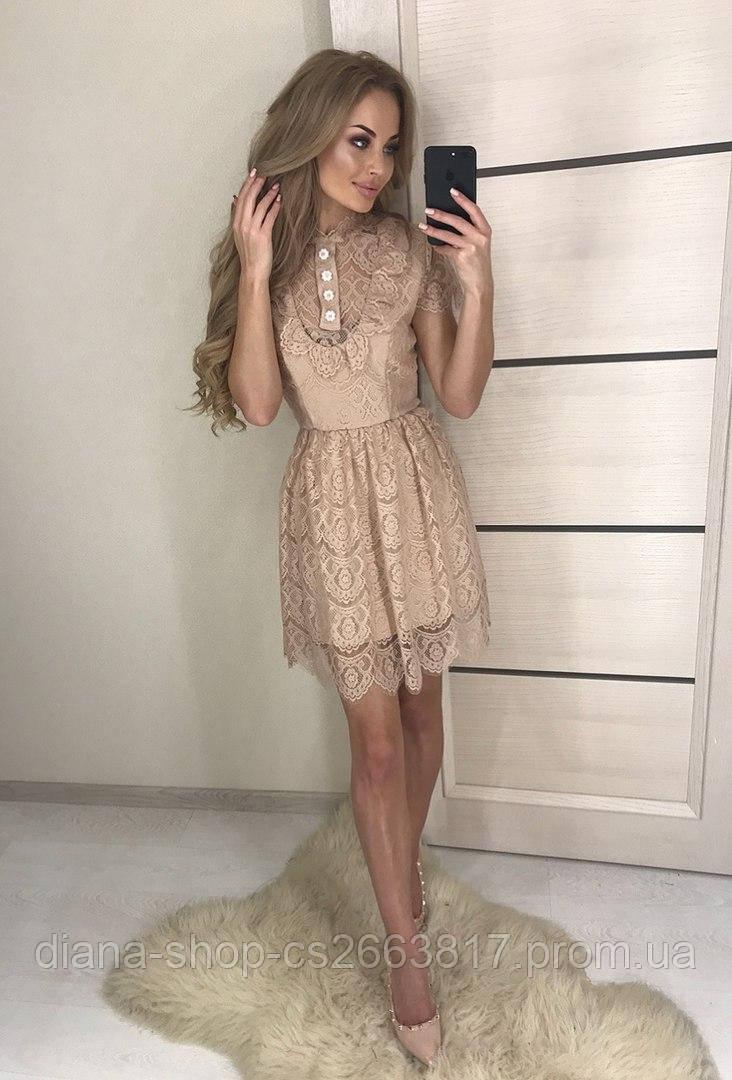 9533766d4c0 Женское гипюровое платье бежевого цвета - Diana Shop в Харькове