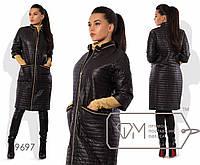 Пальто-кокон из стёганой плащёвки на синтепоне с рукавами 3/4, воротом-стойкой, молнией по всей длине и накладными карманами 9697