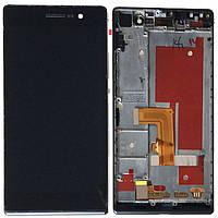 Дисплей (экран) для Huawei P7-L10 Ascend с тачскрином в сборе, цвет черный, с рамкой