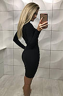Женское приталенное платье из ткани трикотаж рубчик черного цвета