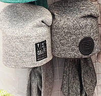Тёплые мягкие зимние комплекты для подростков:шапка на флисе объём 50-54 см и хомут S231