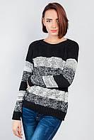 Свитер женский в полоску крупная вязка. (Черно-белый).  Арт-381F001.5