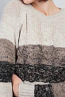 Свитер женский в полоску крупная вязка.  (Молочно-черный).  Арт-381F001.5