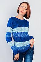 Свитер женский в полоску крупная вязка. (Сине-голубой).  Арт-381F001.5