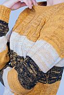 Свитер женский в полоску крупная вязка. (Горчично-черный).  Арт-381F001.5