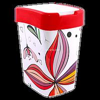 Ведро для мусора Евро Алеана 18 л с декором (Цветы, красное)