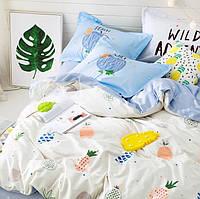 Постельное белье Яркий Ананас саржа 100% хлопок комплект двуспальный с простыней на резинке, кровать 1.8м