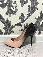 Элегантные туфли двухцветные на шпильке. Материал иск.лак.  Высота каблука 10 см. Р-р 36-40. Цвета в ассортиме