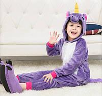 Пижама кигуруми для детей Единорог фиолетовый