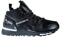 Мужские кроссовки Reebok GL 6000 Mid Black (Рибок высокие, черные)